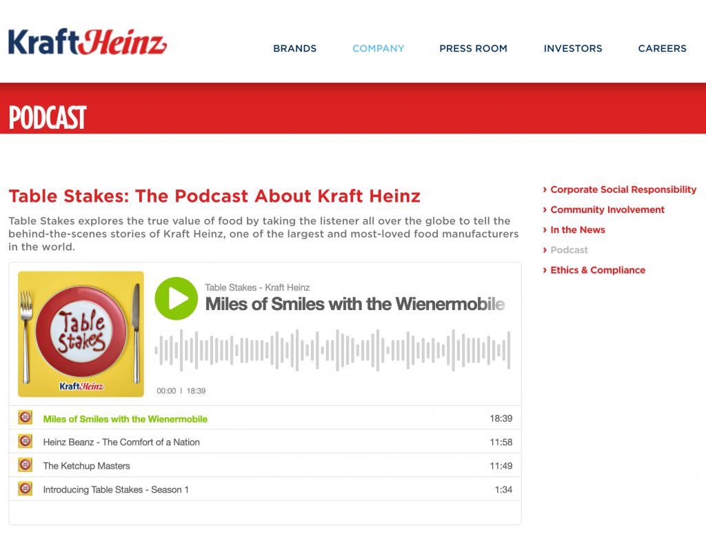 Kraft Heinz Website Screenshot of Podcast Page
