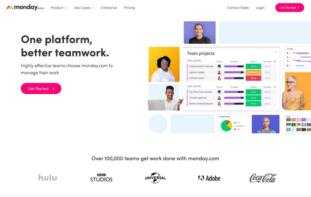 Monday.com Website Homepage