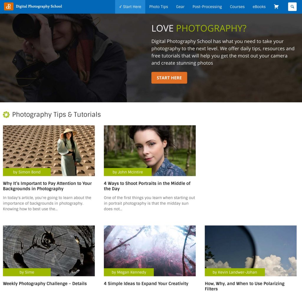 Digital Photography School Website Homepage